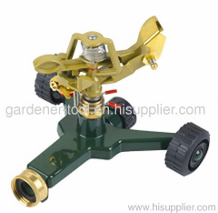 metal garden water sprinkler with zinc wheel base