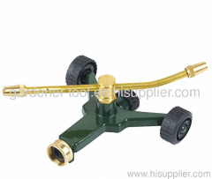 2 arm rotary sprinkler with zinc wheel base