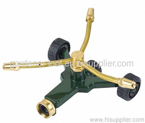 3 arm brass rotary sprinkler with zinc alloy base