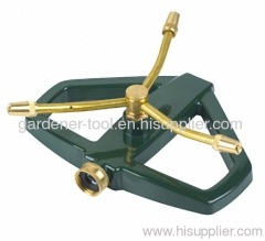 3 arm brass rotary sprinkler with zinc alloy H shape base