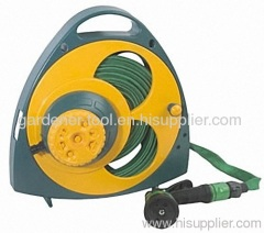 Plastic 15M Flat Hose Reel with nozzle and sprinkler