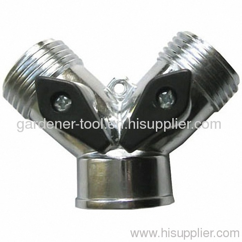 Zinc 2 Way Double Tap Adaptor with Individual On/Off Valves