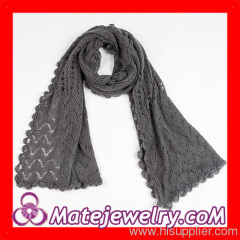 Grey Infinity Handmade Knitted Scarves Pashminas Wraps Wave Pattern