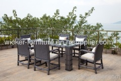 Outdoor wicker dining table