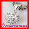 925 Sterling Silver european White Crystal Heart Pendant Beads