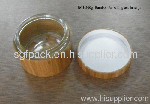 Naturel bamboo package 15-200g bamboo glass cream jar makeup containers