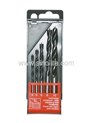 Wood drill bit 3 brad point 5pcs Size 4-5-6-8-10mm black and silver finish in plastic box