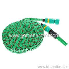 50FT Flat Garden Hose With 2-function hose nozzle set