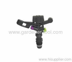 "Plastic farm impulse sprinkler with G1/2"" male thread tapping."