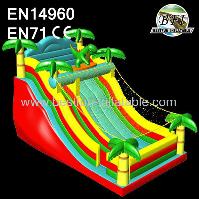 Inflatable Dino Sun Slide With Palm Tree