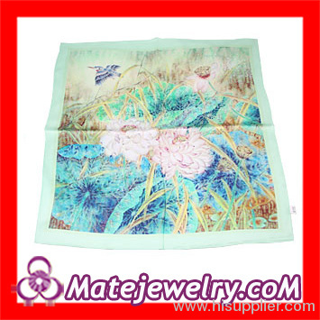 Women's Aesthetic Lotus Printing Silk Square Scarf Pattern Cheap