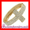Rhiestone Crystal Gold Plated Sideways Cross Bracelet Bangle Sale