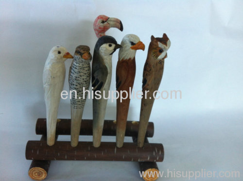 hot sale wooden carving animal ball pen