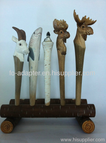 wooden carving animal ball pen
