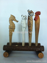 hot sale wood animal ball pen