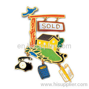 photo etched soft enamel set lapel pin