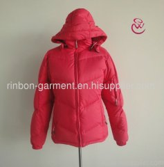 POPULAR PINK WINTER SHORT DOWN JACKET FOR YOUNG LADY.