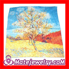 Fashion Women's Van Gogh's Oil Painting Square Scarf Silk