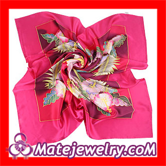 China Red Flower Printed Large Square Silk Scarves For Women