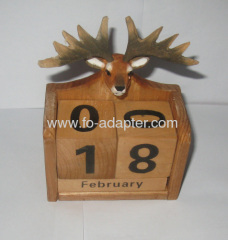 Wooden Animal Calendar Natural painting