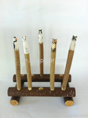 2013 hot sale wooden carving animal ball pen