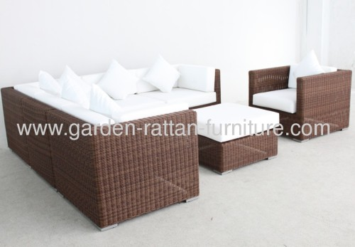 Outdoor rattan garden furniture sofa set round wicker