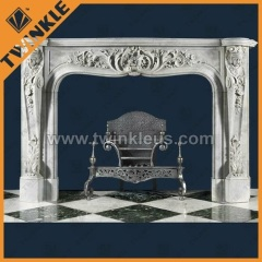 Handmade Natural white marble stone fireplace surround