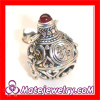 Garnet Gemstone Brass Chime Ball Sterling Silver Harmony Ball Pendant