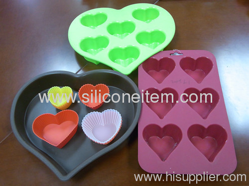 Different Heart Shape Silicone Bakeware Sets