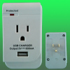 Single outlet wall usb adaptor, surge protected current tap