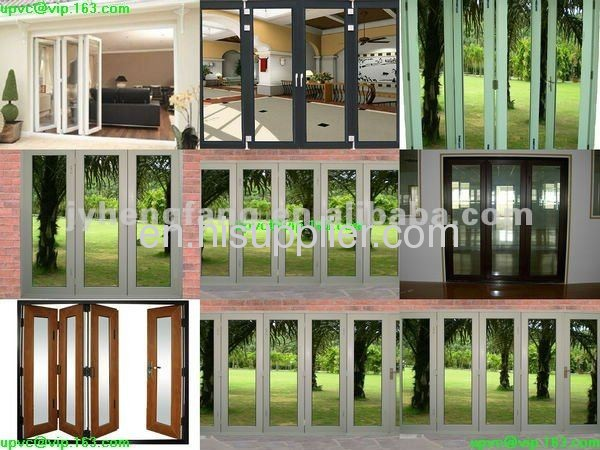 UPVC/PVC/Aluminum multi-sashes garden folding(bi folding)window and door with white/silver/black/wood grain brown color