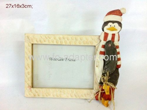 Lovely Penguin Carved Wooden Photo Frame