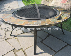 iron and mosaic tile fire pit tables