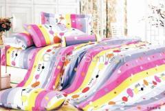 Cotton reactive printed flower bedding sets 4pcs