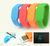led logo silicon wristband watch usb flash drive
