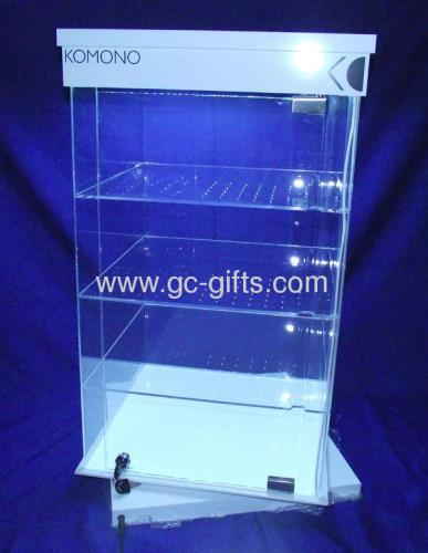 Rotary lockable acrylic showcases with LED lights