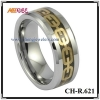 gold chain inlay tungsten ring