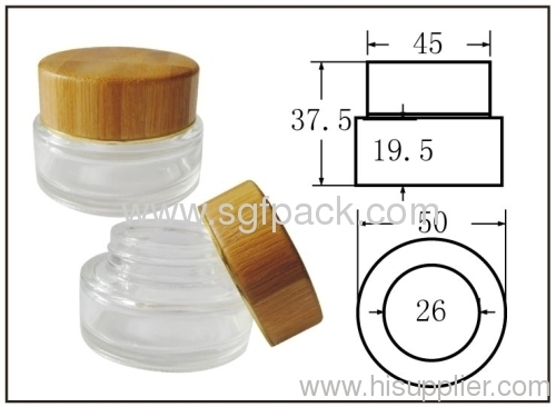 Bamboo cap for glass jar cream jar bamboo container cosmetic package 20g jar 50g jar cap