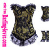 Gold floral pattern black ground lace corset