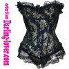 Gold floral pattern blue ground lace corset