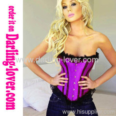 purple satin lace trim lace corset