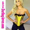 Yellow satin lace trim lace corset