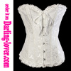 white printed ruffle satin trim lace corset