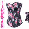 Black ground flower printed cowboy fabric overbust corset