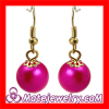 Chinese Wholesale Fushia Fake Pearl Bead Dangle Earring Cheap