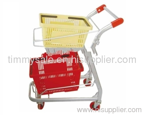 two basket shopping trolley/double layer basket shopping cart for supermarket /trolley to transport goods