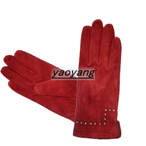 2013 fashion and warm style ladies pig leather suede gloves YYS026