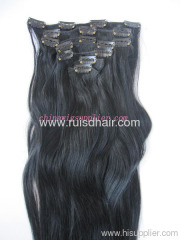 human hair extension with clips(clip in hair extension)