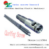 Conical twin screw barrel for plastic recycle and pelletizing line
