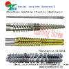 Parallel conical twin screw barrel